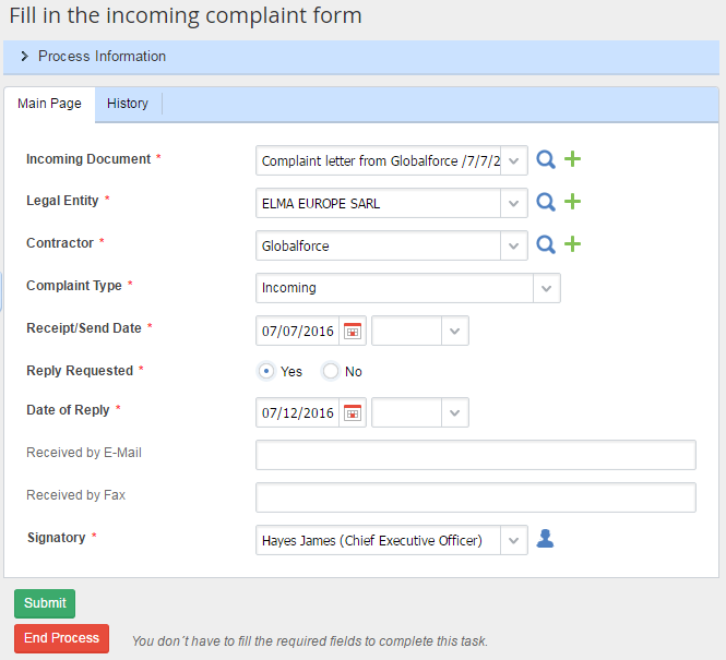Fill in the Incoming Complaint Form
