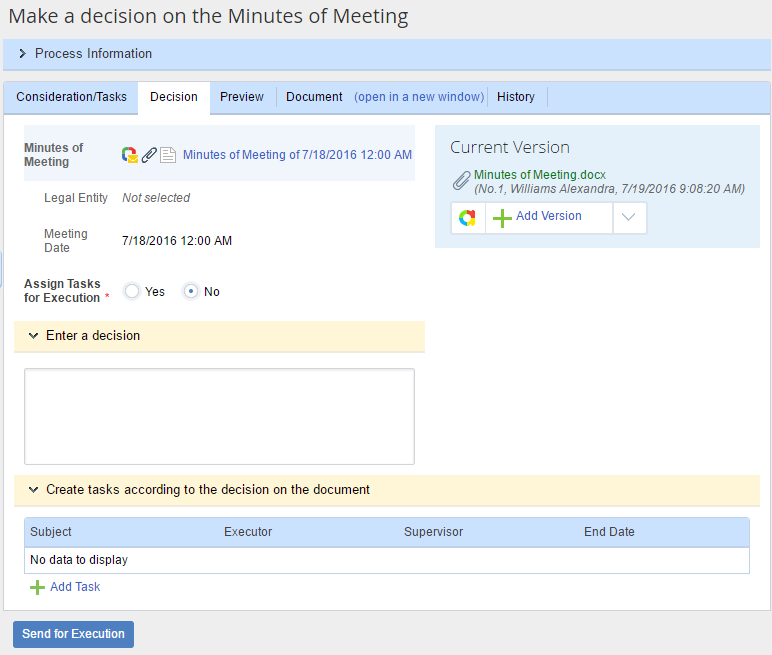 Make a decision on the minutes of meeting
