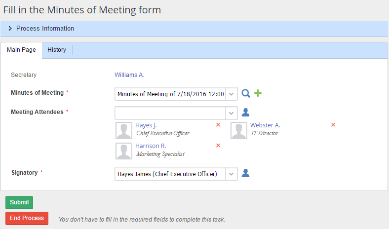 Create minutes of meeting