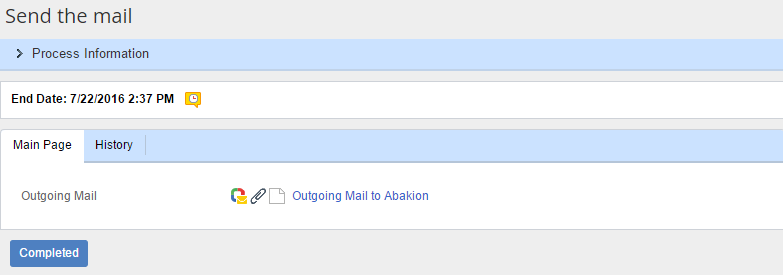 «Send the mail» task