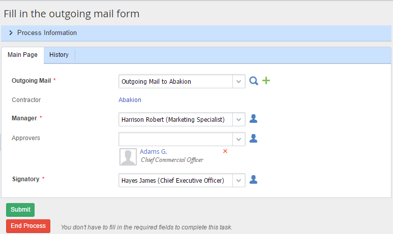«Fill in the outgoing mail form» task