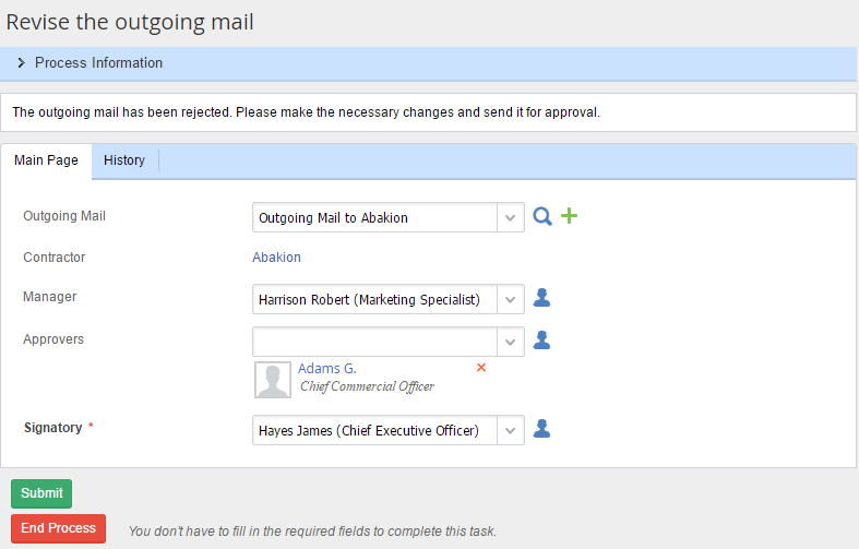 ELMA BPM: Outgoing Mail Processing