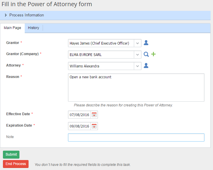 ELMA BPM: Power of Attorney